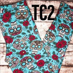 Pants - TC2 Extra Plus  Soft Aqua Skulls Leggings NWT